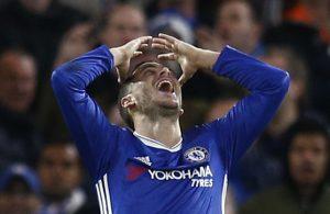 Eden Hazard reacts.