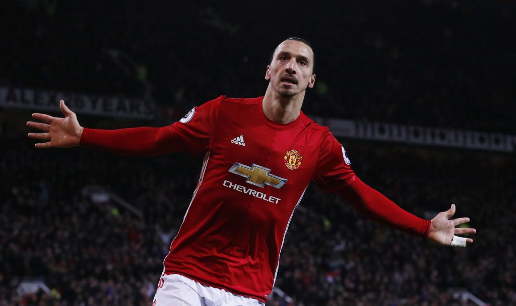 Manchester United's Zlatan Ibrahimovic celebrates scoring their second goal.