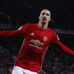 Manchester United's Zlatan Ibrahimovic celebrates scoring their second goal.