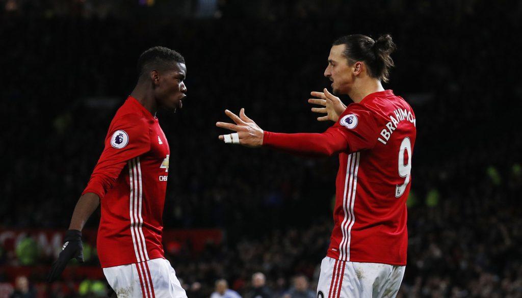 Zlatan Ibrahimovic celebrates scoring United's second goal with Paul Pogba.