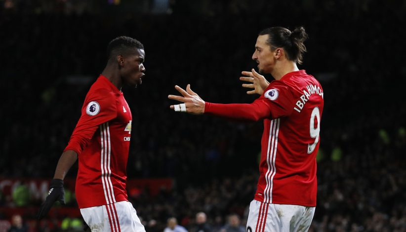 Zlatan Ibrahimovic celebrates scoring United's second goal with Paul Pogba.