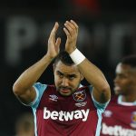 Dimitri Payet applauds fans after the game.