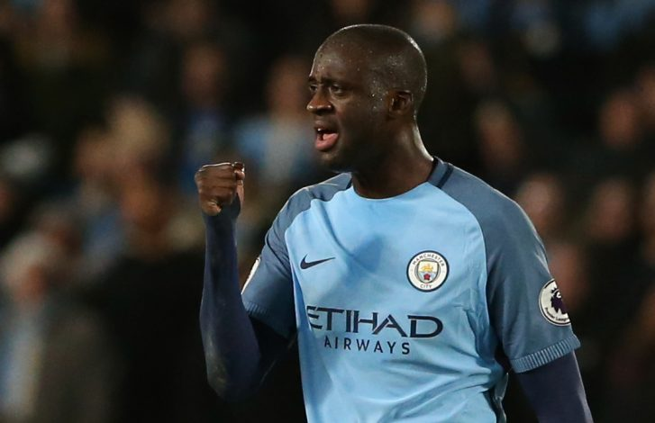 Yaya Toure celebrates scoring City's first goal.