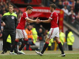 Ander Herrera comes on as a substitute for Michael Carrick.