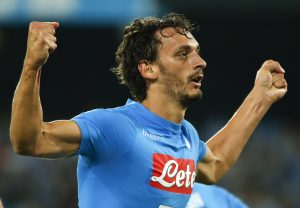 Napoli's Manolo Gabbiadini celebrates after scoring against Chievo.