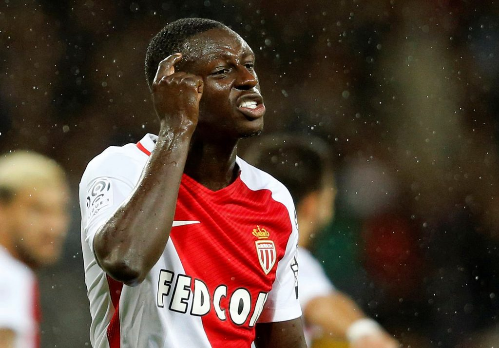 AS Monaco's Benjamin Mendy reacts.