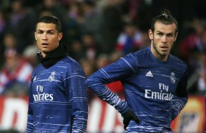 Real Madrid's Gareth Bale (R) and Cristiano Ronaldo during the warm up.