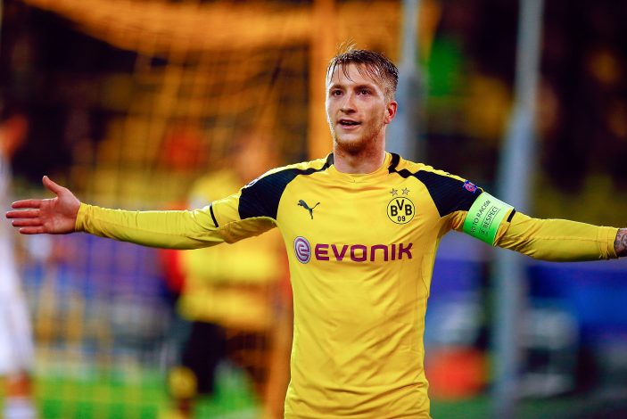 Dortmund's Marco Reus celebrates after he scored against Warszawa.