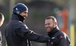 Manchester United's Zlatan Ibrahimovic and Wayne Rooney during training.