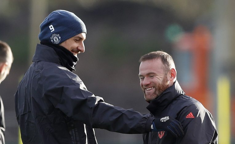 Manchester United's Zlatan Ibrahimovic and Wayne Rooney during training.