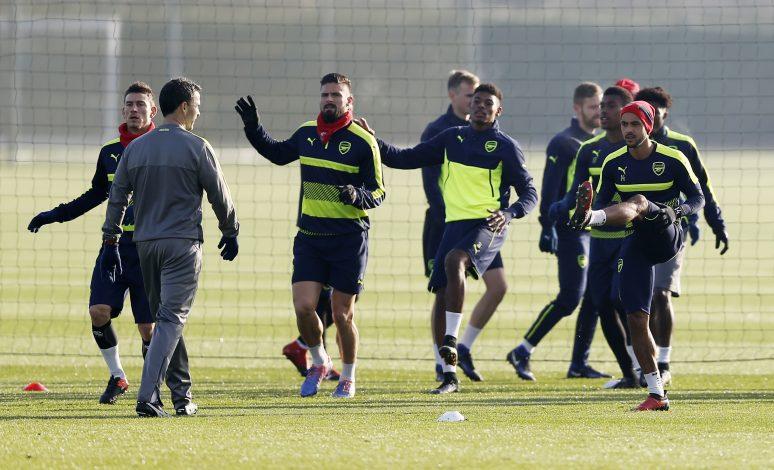 Arsenal's Laurent Koscielny, Olivier Giroud, Theo Walcott during training.