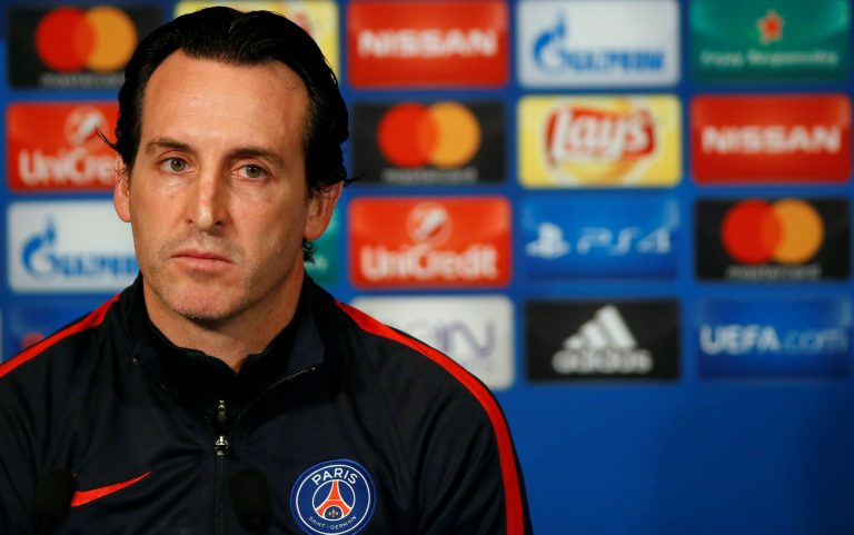 Paris St Germain coach Unai Emery during the press conference.