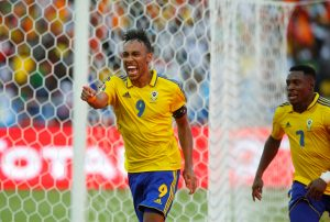 Gabon's Pierre-Emerick Aubameyang celebrates scoring a goal with Malick Evouna.