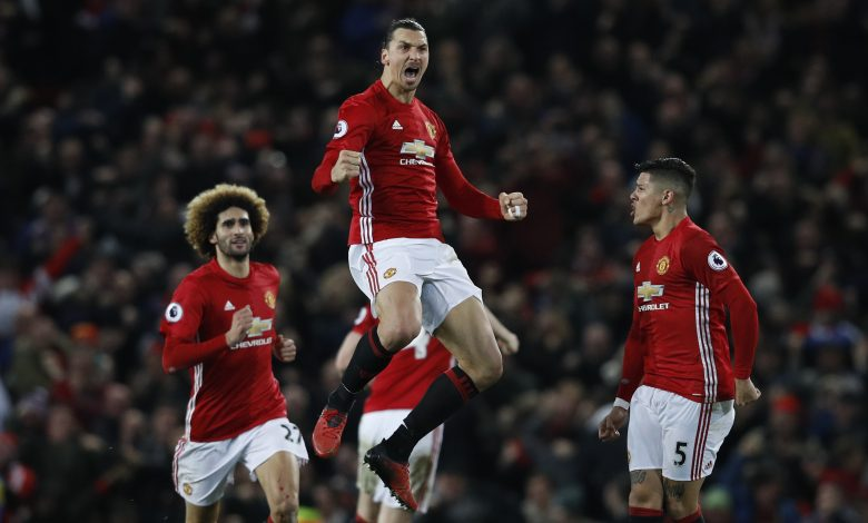Manchester United's Zlatan Ibrahimovic celebrates scoring their first goal.
