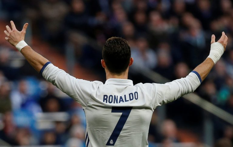 Real Madrid's Cristiano Ronaldo reacts during the match.