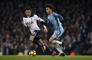 Tottenham's Dele Alli in action with Manchester City's Leroy Sane.