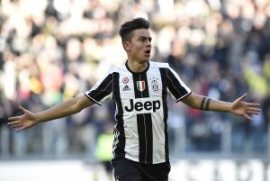 Juventus' Paulo Dybala celebrates after scoring first goal.