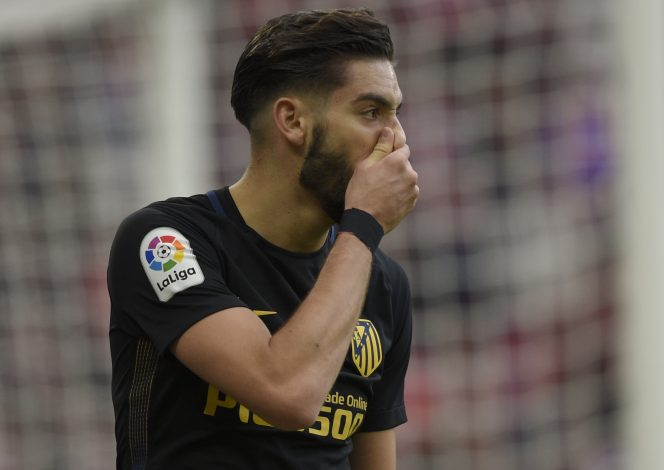 Atletico Madrid's Yannick Carrasco reacts during the match.