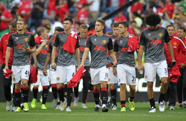 James Wilson, Sean Goss, Adnan Januzaj, Ander Herrera and Marouane Fellaini.
