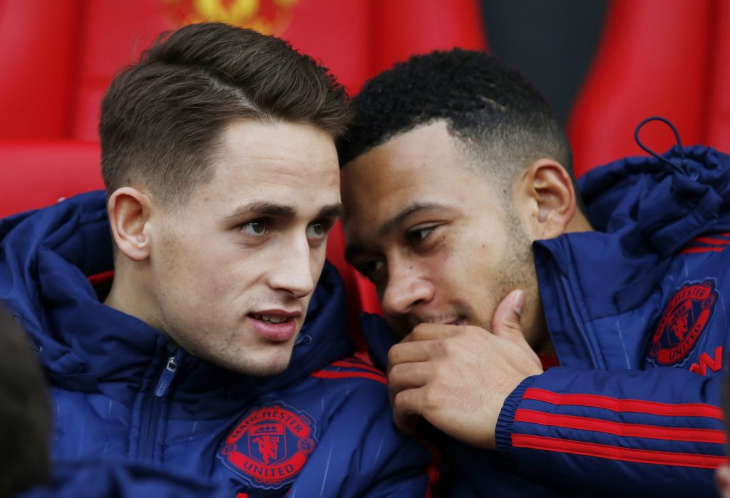 Adnan Januzaj and Memphis Depay on the bench before the match.