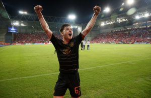 Celtic's Kieran Tierney reacts after the match.