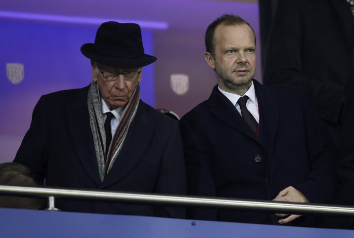 Manchester United director Sir Bobby Charlton and executive vice-chairman Ed Woodward before the match.