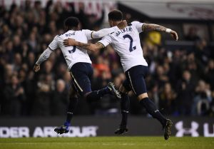 Danny Rose celebrates scoring Tottenham's second goal with Kyle Walker.