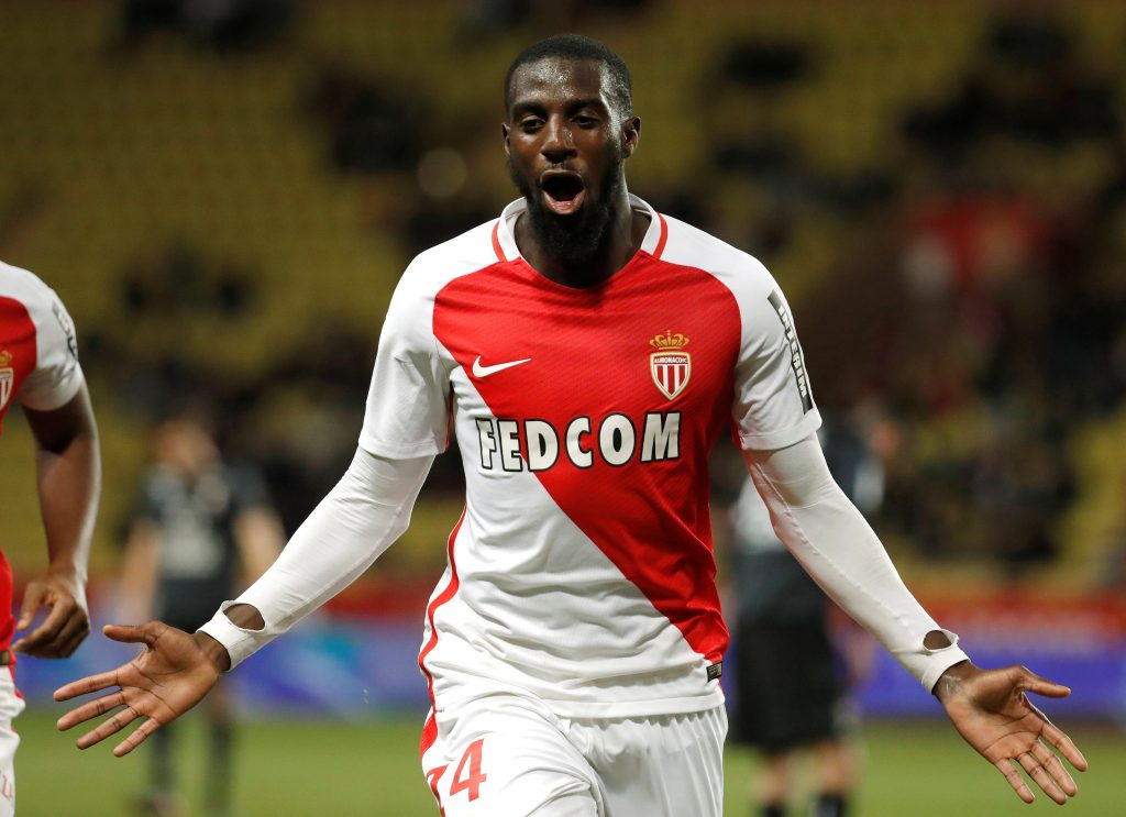 Monaco's Tiemoue Bakayoko celebrates after scoring.