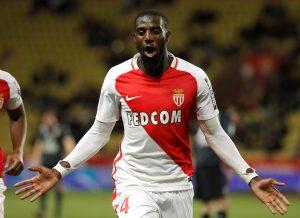 Monaco's Tiemoue Bakayoko celebrates after scoring.