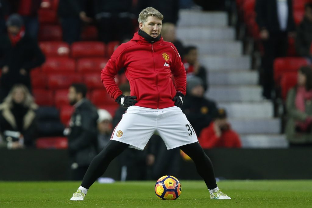 Manchester United's Bastian Schweinsteiger warms up before the match.