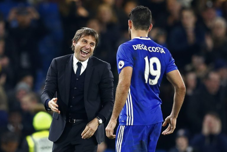 Diego Costa and Chelsea manager Antonio Conte celebrate after the game.