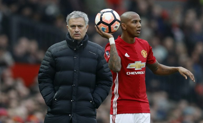 Jose Mourinho and Ashley Young.