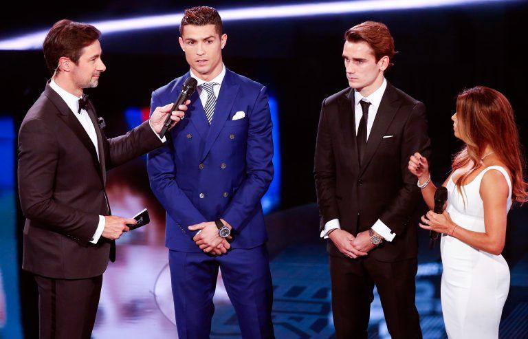 German presenter Marco Schreyl and U.S. actress Eva Longoria present the nominees Cristiano Ronaldo and Antoine Griezmann.