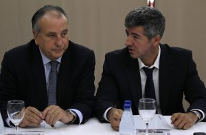 Villarreal's President Fernando Roig (L) and Atletico de Madrid's managing director Miguel Angel Gil.