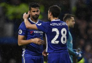 Chelsea's Diego Costa celebrates scoring their third goal with Cesar Azpilicueta.