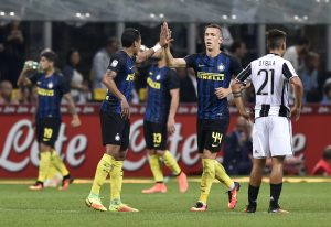 Inter Milan's Ivan Perisic celebrates scoring their second goal.