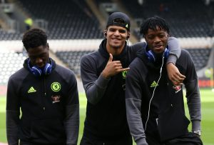 Chelsea's Nathaniel Chalobah with Dominic Solanke and Ola Aina in the ground before the match.