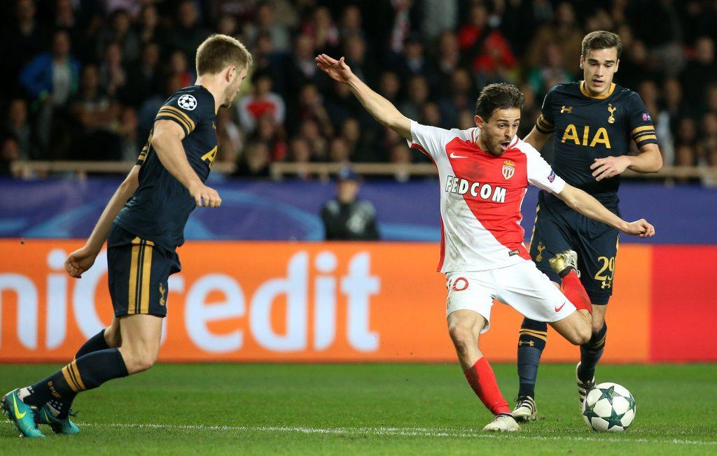 Monaco's Bernardo Silva shoots at goal.