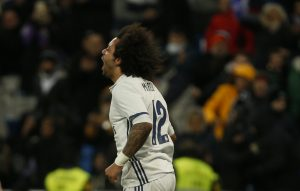 Real Madrid's Marcelo celebrates his first goal.