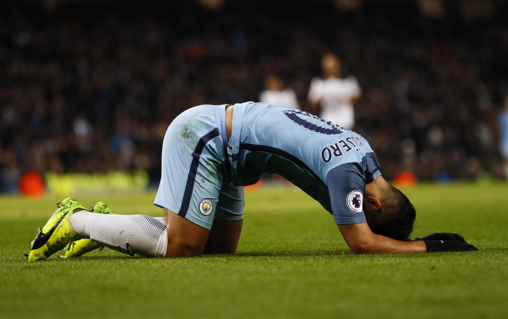 Manchester City's Sergio Aguero after a missed chance.