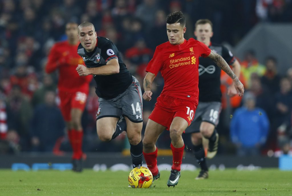 Liverpool's Philippe Coutinho in action with Southampton's Oriol Romeu.
