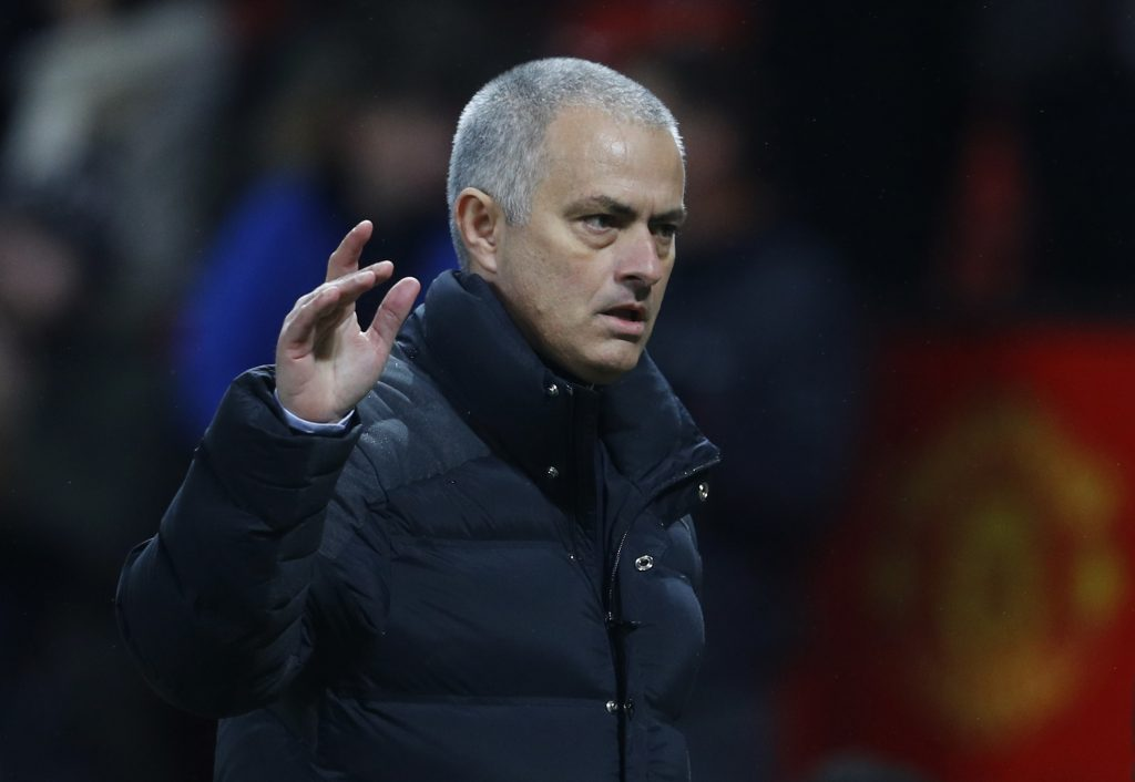 Manchester United manager Jose Mourinho gestures to the fans at the end of the match.