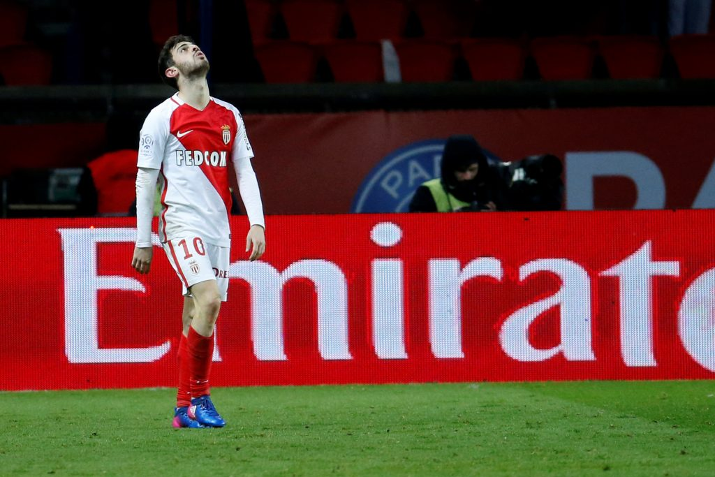 AS Monaco's Bernardo Silva celebrates.