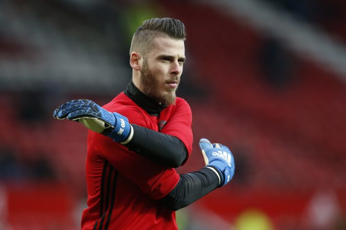 David De Gea warms up before the match.