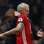 Anthony Martial is congratulated by manager Jose Mourinho as he is substituted.