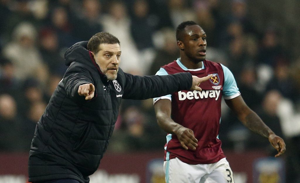 West Ham United manager Slaven Bilic and West Ham United's Michail Antonio.