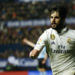 """Real Madrid's Francisco """"Isco"""" Alarcon celebrates after scoring a goal."""