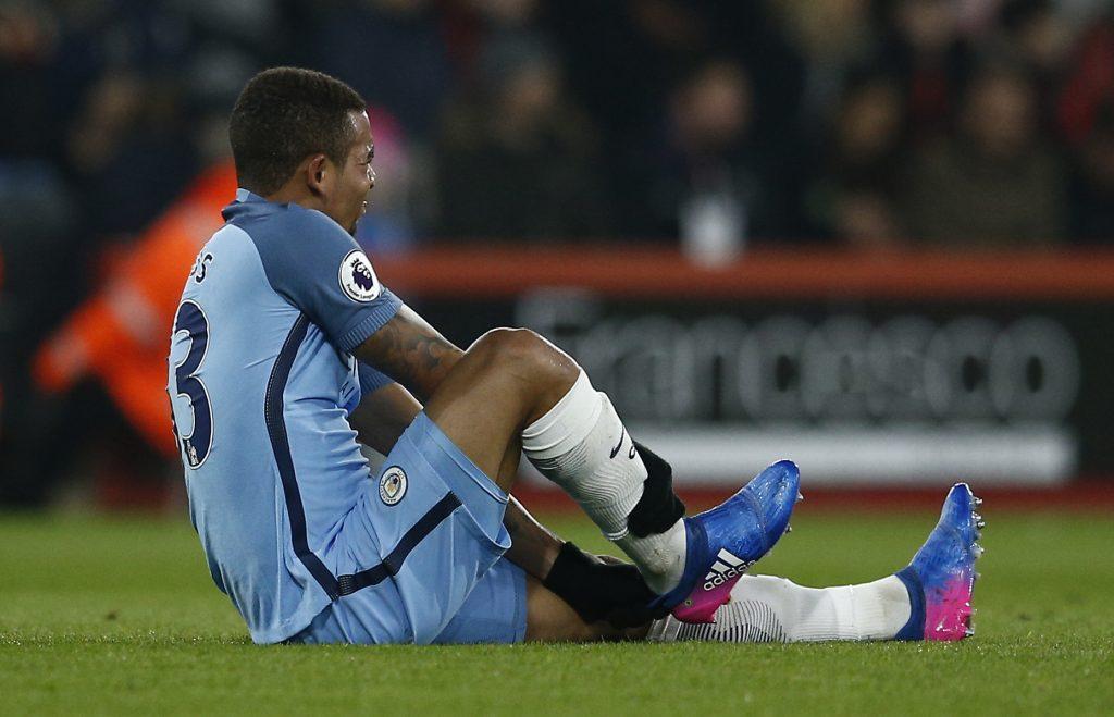 Manchester City's Gabriel Jesus sustains an injury.