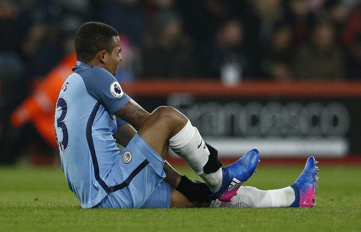 Manchester City's Gabriel Jesus sustains an injury.