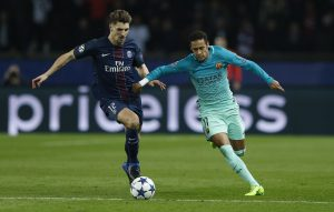 Barcelona's Neymar in action with Paris Saint-Germain's Thomas Meunier.